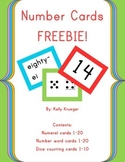 Bold and Bright Number Cards 1-20