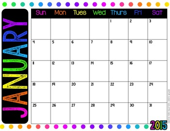 {FREE} Bold and Brights Printable Calendar 2015 {Creative Paper Collection}