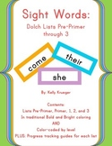 Bold and Bright Sight Words-Dolch Words Lists Pre-Primer to 3