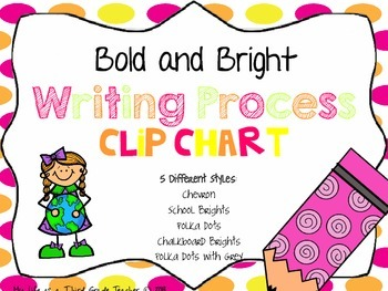 Bold and Bright Writing Process Posters/ Clip Chart {5 styles}