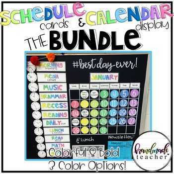 Bold and Colorful Wall Calendar and Schedule Cards BUNDLE