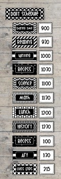 Bold and Modern (Black & White) Class Daily Schedule Pocke