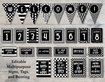 Bold and Modern (Black and White) Editable Classroom Decor Package