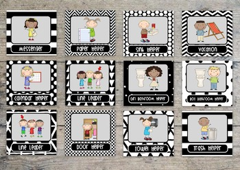 Bold and Modern Black and White Editable Classroom Jobs Helper Cards - 44 cards