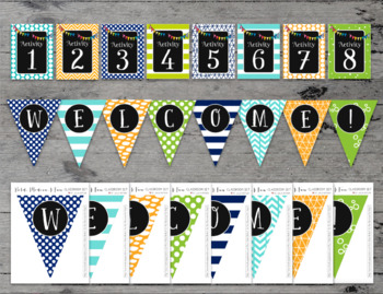 Bold and Modern (Navy, Lime, Orange, Turquoise) Editable Classroom Decor Package