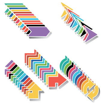 Bold colorful arrows with a white outline, shadow background 168 clip art images