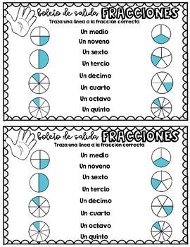 Boletos de Salida: Fracciones (Exit Tickets: All about Fractions)