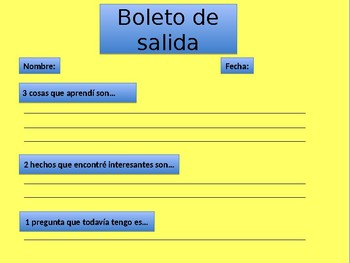 Boletos de Salida en español | Idea Principal | Main Idea in Spanish Exit Ticket