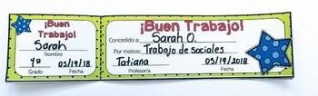 Boletos de reconocimiento al esfuerzo/ Positive reinforcement tickets in spanish