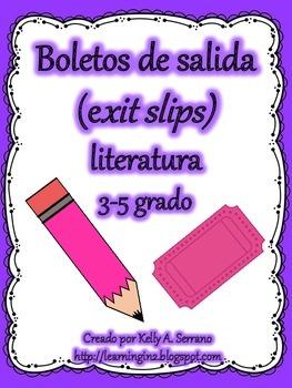 Exit Slips for Fictional Texts in Spanish / Boletos de salida