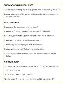 Bolivian Culture Activity Packet