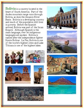 Bolivian Culture Activity Packet