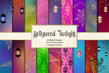 Bollywood Twilight digital paper, Indian paisley and mehndi backgrounds