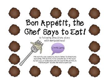 """Bon Apetit, The Chef SaysTo Eat"" -following directions book WITH manipulatives"