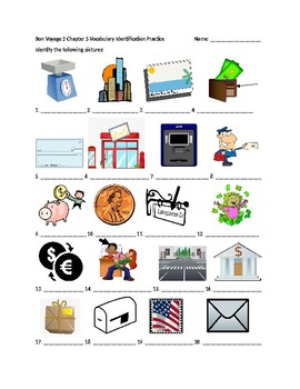 Bon Voyage 2 Chapter 5 Vocabulary Identification Practice/Quiz