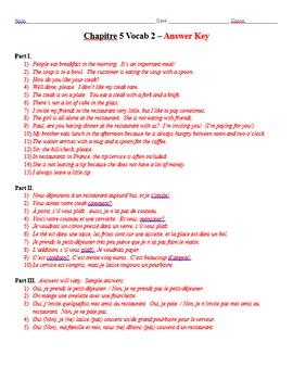 Bon Voyage Chapitre 5 Vocabulaire Mots 1-2 Traduction Worksheets