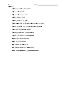 Bon Voyage Level 1, Chapter 4 Translation Worksheet
