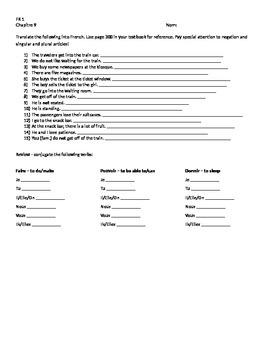 Bon Voyage Level 1, Chapter 9 translation worksheet