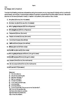 Bon Voyage Level 2, Chapter 6 Translation Worksheet by Ma boutique
