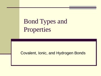 Bond Types and Properties: Covalent, Ionic, and Hydrogen Bonds
