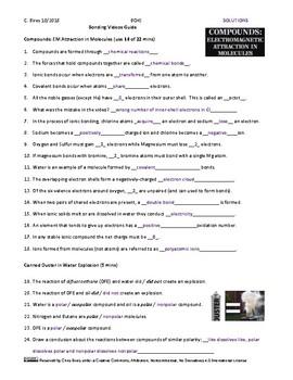 Bonding Models Video Guide Worksheet