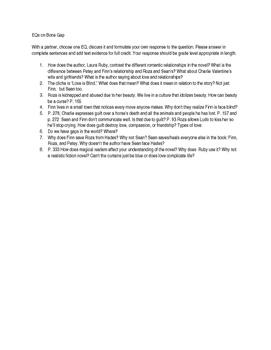 Bone Gap Essential Questions/ Reading Comprehension Questions