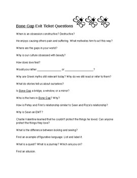 Bone Gap Exit Tickets