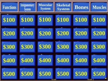 Bones, Muscles, Skin Jeopardy Game