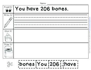 """""""Bones"""" Read It, Write It, Glue It, Draw It"""