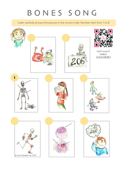 Bones (a picture-sequencing activity) including a SONG about Bones