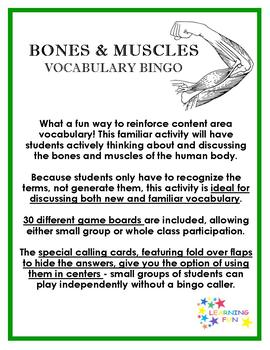 Bones and Muscles Vocabulary Bingo