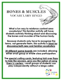 Bones and Muscles Vocabulary Bingo