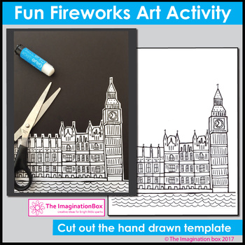 London Bonfire Night Fireworks & Flames, Guy Fawkes Night Art Activity