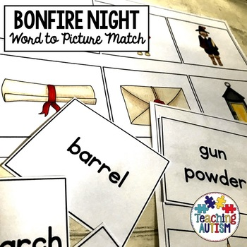 Bonfire Night Word to Picture Matching Guy Fawkes Word to Picture Matching