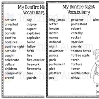 Bonfire Night Guy Fawkes Word Search