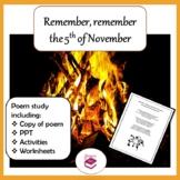 Bonfire Night Poem - Remember the 5th of November: PPT, po