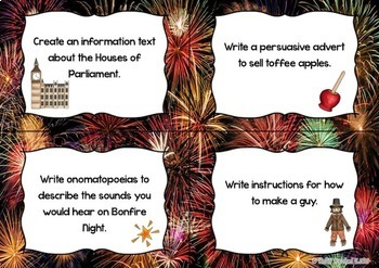Bonfire Night Writing Task Cards