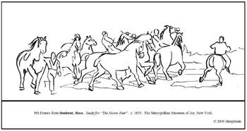 Bonheur. Study for The Horse Fair.  Coloring page & lesson plan ideas