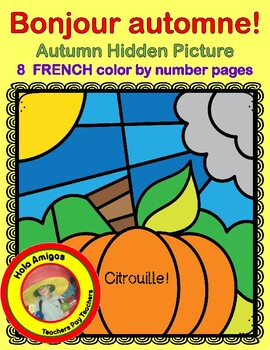 Bonjour automne! 8 FRENCH fall color by number pages - LES COULEURS