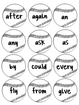 Bonkers for Baseball - First Grade Sight Word game