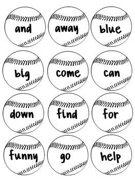 Bonkers for Baseball - Preprimer Sight Word Game