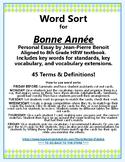 Bonne Annee Vocabulary Word Sort