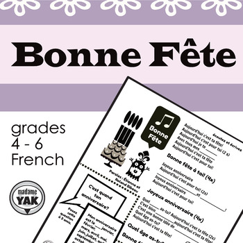 Bonne Fête: birthday song lyrics and cloze activity