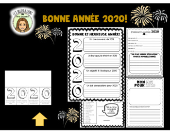 Bonne année 2019- FRENCH New Year's Resolution worksheets
