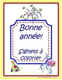 Bonne année! Signets à colorier