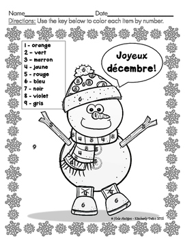Joyeux décembre! - December French color by number (3 pages)