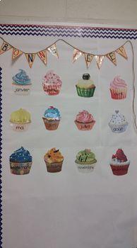Bonne fête! Happy Birthday French Months (les mois) Cupcakes