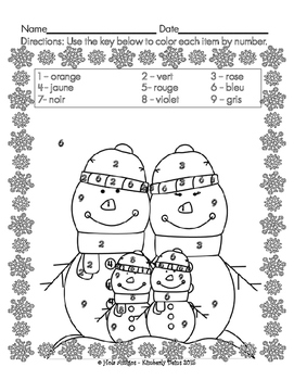 Joyeux janvier! - Happy January! French color by number (4 pages)