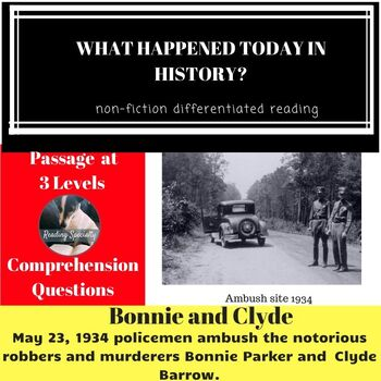 Bonnie and Clyde Differentiated Reading Passage May 23