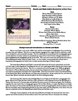 Bonnie and Clyde Film (1967) Study Guide Movie Packet